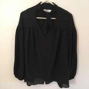 Time and Tru black tie neck puff sleeve blouse XXL